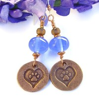 Dog Paws Hearts Copper Handmade Earrings Blue Lampwork Rescue Jewelry