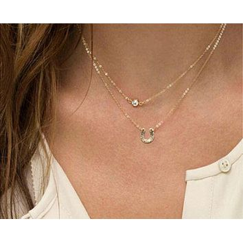 Trendy Gold Two Layer Good Luck Horse Necklace