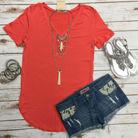 Vicky Basic V Tunic Top: Coral