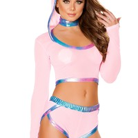J-Valentine Pink Metallic Trim Mesh Hooded Top with shorts