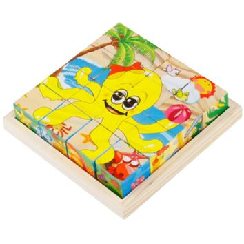 Educational Toy 3D Wooden Puzzle for Kids Cube Puzzle Ocean(2 Years and up)