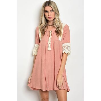 Ladies 3/4 sleeve with Lace Detailed Skater Dress
