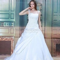Beaded Cap Sleeved Organza over Satin Wedding Dress with Pick Ups