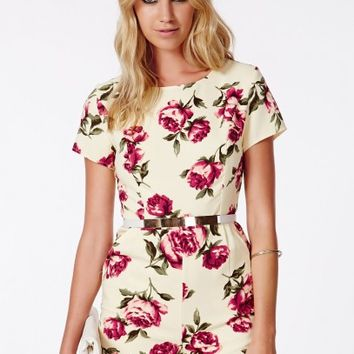 Missguided - Serapia Rose Print Playsuit