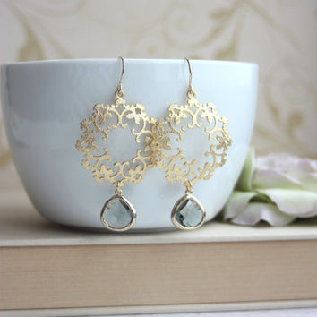 An Oriental Gypsy Filigree Chandelier Grey Black Glass Gold Plated Drop Earrings. Maid of Honor. Bridesmaids Gifts. Boho Summer.