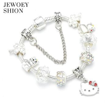 JEWOEY SHION Luxury brand unique white cute Hello Kitty Pandora charm bracelet for women fit DIY and jewelry gift for children