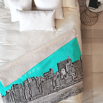 Bird Ave New York Aqua Fleece Throw Blanket