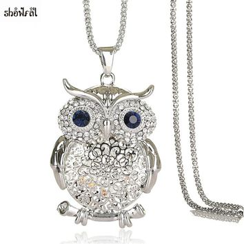 Zircon Owl Necklace Hollow Flower Necklace Rosary Gold Silver Chain for Lovers Best Friend Friendship Necklaces Boho Jewelry