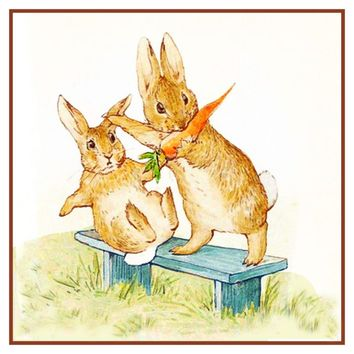 Fierce Rabbit and Friend Eat Carrots inspired by Beatrix Potter Counted Cross Stitch or Counted Needlepoint Pattern