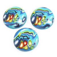 Polymer clay buttons, handmade colorful buttons, dots and stripes unique pattern, set of 3 big buttons