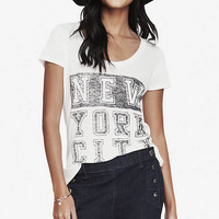 SCOOP NECK GRAPHIC TEE - NYC BLOCK from EXPRESS