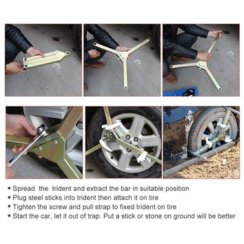 Car Wheel Tire Emergency Rescue escape Kit,Self Rescue Triangular Traction Solution for Cars/Vans/ATV,Stucked in Snow,Sand&Mud