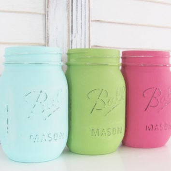 Mason Jars, Party Decor, Rustic Decor, Shabby Chic, Wedding Decor, Distressed, Set of 3 Jars, Party Centerpiece, Country, Baby Shower