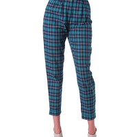 London Calling Plaid Pants - Green/Navy