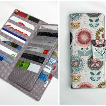 Credit Card Organizer Wallet,  38 Slot Card Loyalty Card Organizer, women's wallet 38 Business Card Organizer Sophia Flower Ready to Ship