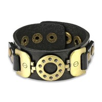 Black Leather Bracelet with Vintage Steel Buckle Charm - Like Love Buy