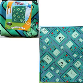 Licensed cool BEEMO BMO FACES Adventure Time Finn & Jake Super Plush Throw Blanket 48x60 NEW