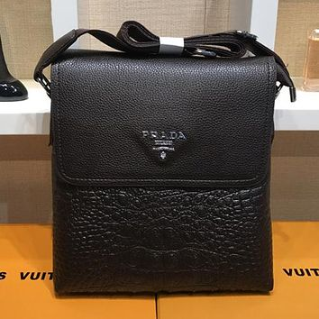 Prada Men Office Bag Leather Satchel Shoulder Bag Crossbody