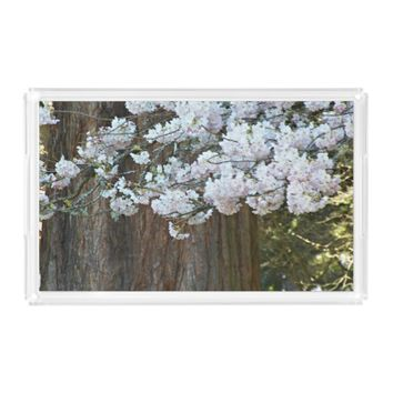 Giant Sequoia and Cherry Blossoms Photo Serving Tray