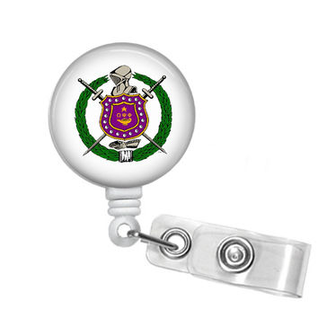 Omega Psi Phi Fraternity Shield Name Badge ID Holder