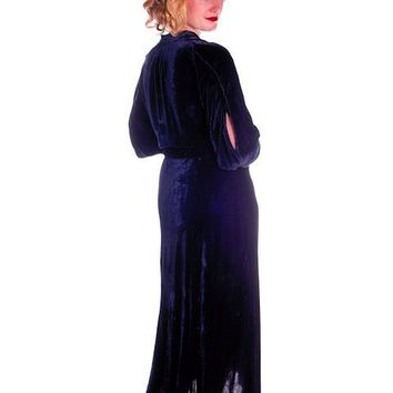 Vintage Dress Blue Silk Velvet Gown 1930s Cut Out Sleeves XL 44-36-44