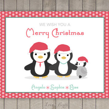 Personalized Christmas card - penguin family
