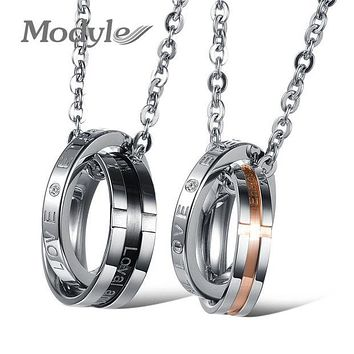 Modyle Men's Fashion Retro New Jesus Cross Stainless Steel Couples Necklaces and Pendants F