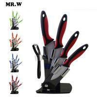 Brand Mr.W High Quality Ceramic Knife Set 3 inch + 4 inch + 5 inch + 6 inch + peeler + Acrylic Holder Kitchen Knives Sets