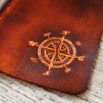 Compass Leather Passport Cover