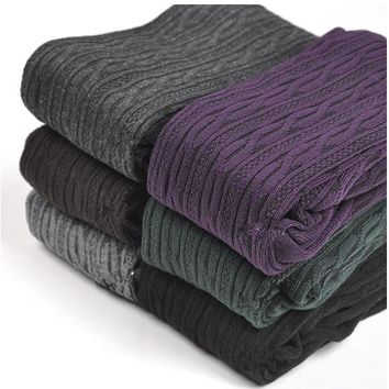New Spring Autumn Winter Cotton Knitted Stockings 7 Colors Women Warm Twist Striped Tights 2 designs Pantyhose Female
