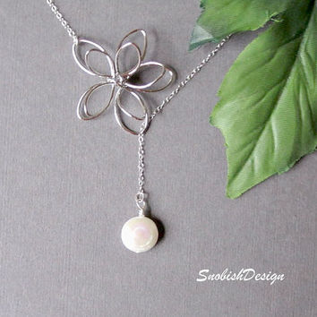 Sterling Silver Jewelry  Coin Pearl Necklace  by SnobishDesign