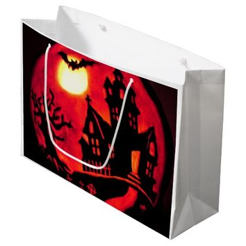 SPOOKY HAUNTED HOUSE LARGE GLOSSY GIFT BAG