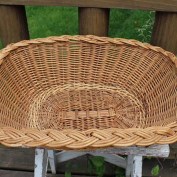 Vintage Reed storage basket, french country decor, farmhouse decor, vintage wicker basket, wedding card basket, goodie basket, home decor