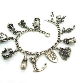 Silver Charm Bracelet. Cape Cod Nantucket. Modernist Ella L Cone, Silversmith Shop. Vintage Sterling 1950s Nautical Jewelry 1.69 oz