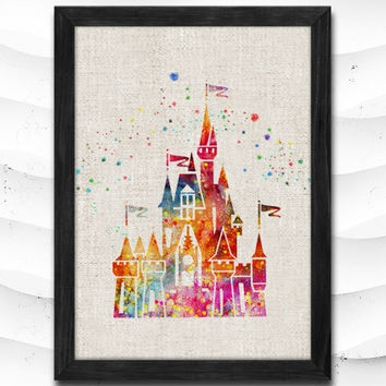Disney Castle Watercolor Art Print Home Decor Giclee Wall Art Poster Wall Decor Art Home Decoration Linen Poster CAP14