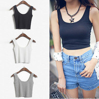 WOMEN'S Ladies SCOOP NECK CROPPED BELLY TOP SLEEVELESS TANK TOP FITTED TEE STRETCHY 2015