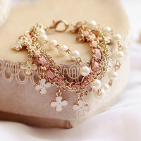Four Leaf Clover Leather Rope Chain Pearl Bracelet Jewelry 1pc