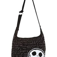 Disney Nightmare Before Christmas Black Flocked Hobo Bag - 196858