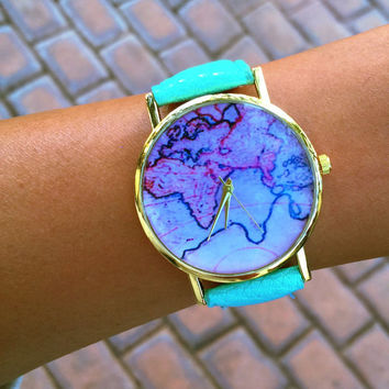 Fashion World Map Watch +Gift Box