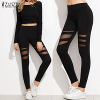 ZANZEA Women Leggings 2017 Casual Fitness High Waist Leggings Sexy Mesh Workout Insert Leggings Plus Size Black Pants Trousers