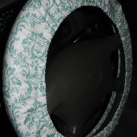 Aqua Damask Steering Wheel Cover, Cute Girly Car Wheel Cover, Handmade in USA, Custom Car Accessory