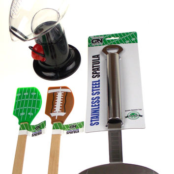 Gridiron Nation Tailgate Football Stainless Steel Spatula Snack Dispenser Set 4