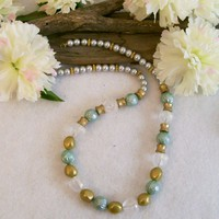 Green Gold Clear Beaded Acrylic Necklace, 23.5