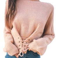KNITTED WOMENS SWEATER WITH LACE-UP IN FRONT