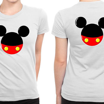 Mickey Mouse B 2 Sided Womens T Shirt