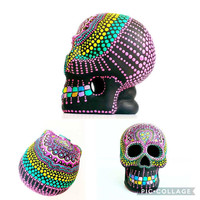 Painted Skull Small hand painted skull Sugar skull skull art colorful Skull Art