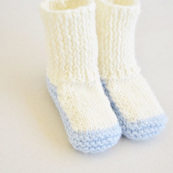 Blue Off White Knit Baby Socks Booties