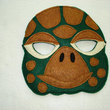Children's Animal TURTLE Felt Mask Green
