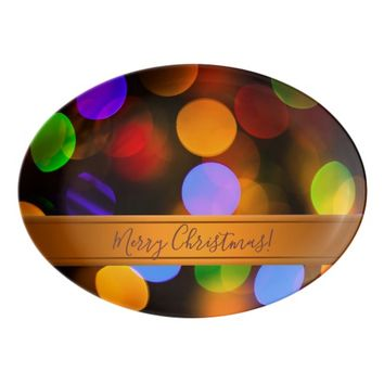 Multicolored Christmas lights. Add text or name. Porcelain Serving Platter
