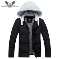 mens winter warm downs jacket brand Thick cotton hat can be men down parka coat black Outdoor fashion sport hooded